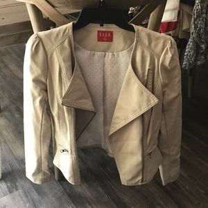 Jackets & Blazers - Cream leather fitted jacket